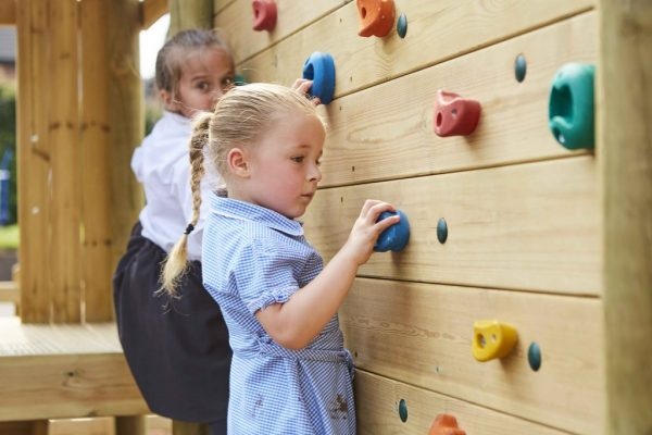 outdoor playground equipment for schools climbing wall two students