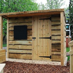 outdoor playground equipment storage unit
