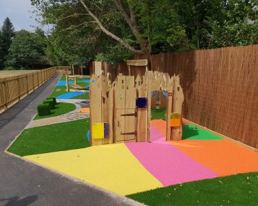 Wet-Pour Playground Surface and wooden playground equipment