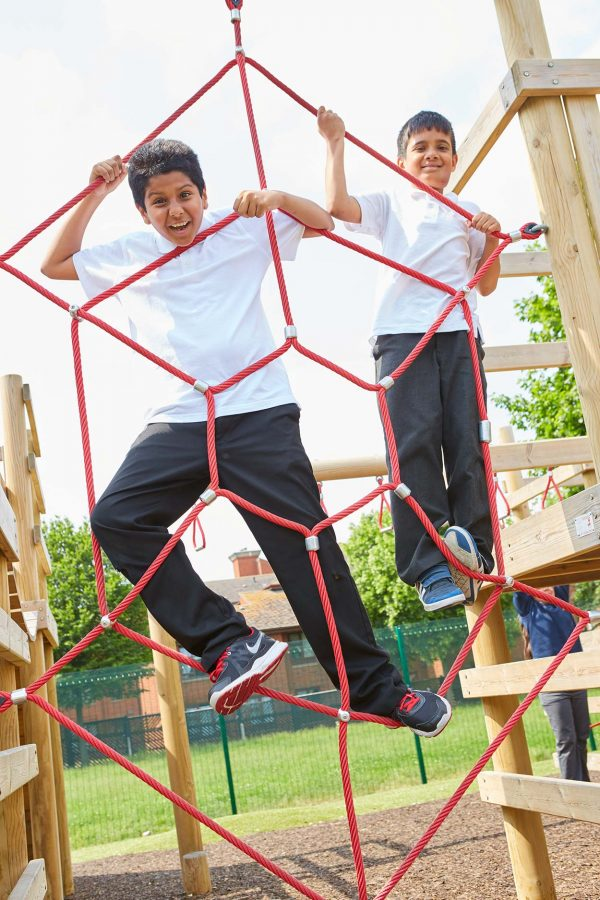 wooden climbing frame and outdoor playground