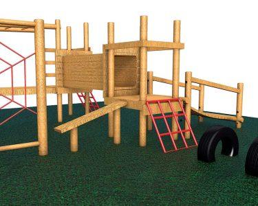 wooden climbing frame