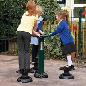 three children using outdoor gym equipment for schools