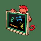 red monkey play black board