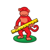 red monkey play ruler