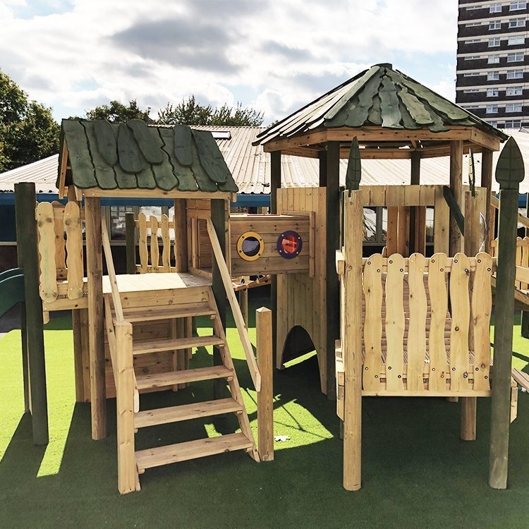 wooden climbing frame at st lukes primary school