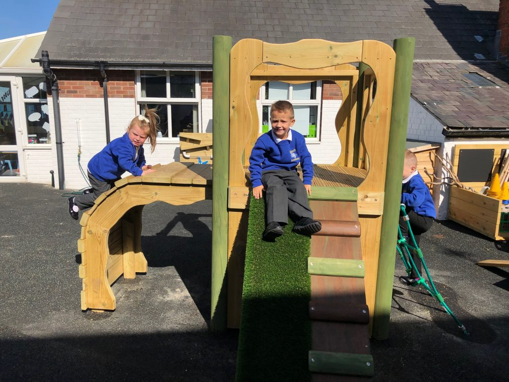 outdoor playground climbing frame slide students