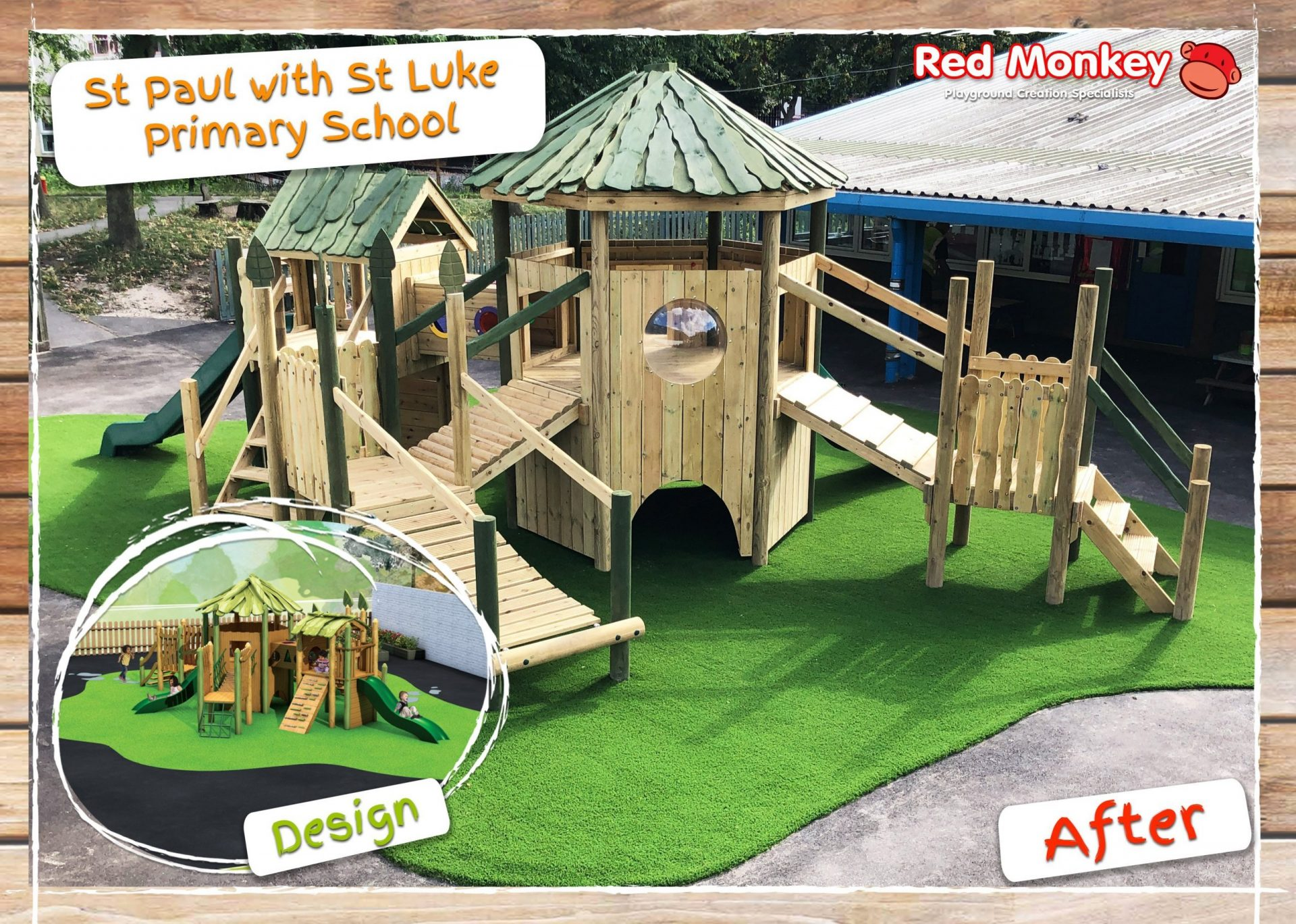 wooden climbing frame at st lukes primary school design mockup